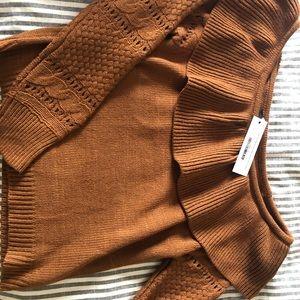 Tops - Off the shoulder burnt orange sweater